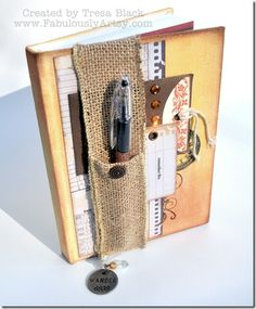 Canvas journal, colored with new #CTMH pigment inks. Pen holder made from Burlap Ribbon. #FabulouslyArtsy.