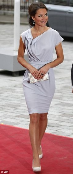 KATE IS KILLIN' IT! Polished: The Duchess of Cambridge wore an elegant pale grey dress tonight for a Creative Industries reception at the Royal Academy of Arts