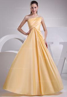 Fashion one shoulder floor-length taffeta dress