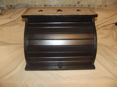 Primitive Wood Roll Top Bread Box ~ Black & Crackle Tan ~ Country Farm Decor