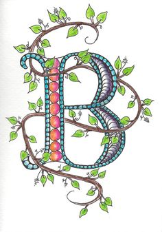 Zentangle Inspired Monogram Letter Note Card by Leopardtude by colleen Doodle Lettering, Creative Lettering, Lettering Ideas, Alphabet Art, Letter Art, Doodles Zentangles, Zentangle Patterns, Doodle Drawings, Doodle Art