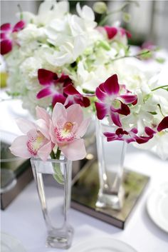Orchid in white & pink palette - table centerpiece by Tirtha Bridal Uluwatu Bali Wedding Locations, Wedding Venues, Palette Table, Wedding Planner, Destination Wedding, Exotic Wedding, Pink Palette, Rose Centerpieces, Calla Lily