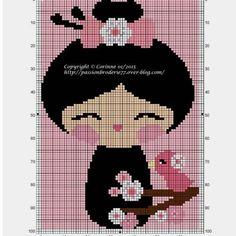 Fond rose Plus Just Cross Stitch, Cross Stitch Kits, Cross Stitch Charts, Embroidery Stitches, Embroidery Patterns, Hand Embroidery, Loom Patterns, Craft Patterns, Hello Kitty Imagenes
