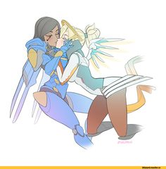 Pharah,Overwatch,Blizzard,Blizzard Entertainment,фэндомы,Mercy (Overwatch),artist,velladonna,PharMercy,Overwatch Other