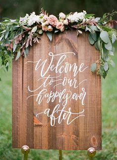 Wood Spring Wedding Welcome Sign