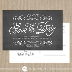 Chalkboard Modern Personalized Wedding Save the Date Postcard / Magnet / Flat Card - CUSTOMIZE Colors and Content on Etsy, $40.00