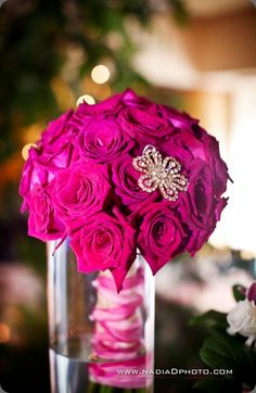 Hot pink jeweled bridal bouquet.