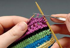 Knitting+Tip How to add Beads using a crochet hook. No pre-stringing required, just use a really teeny crochet hook. This works just check the size of the hole in the beads against the head of the crochet hook. Loom Knitting, Knitting Stitches, Baby Knitting, Crochet Yarn, Crochet Hooks, Knitting Projects, Crochet Projects, Knitting Tutorials, Knitting Patterns