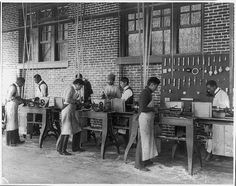 Title: [American Indian and African American students at Hampton Institute, Hampton, Va., 1900(?) - men using machinery in woodworking shop] Creator(s): Johnston, Frances Benjamin, 1864-1952, photographer Date Created/Published: [1899 or 1900]