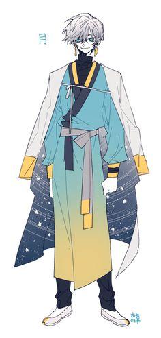 달신 자캐 유에 Sketch Inspiration, Character Design Inspiration, Character Concept, Character Art, Anime Korea, Anime Stars, Traditional Artwork, Hero Costumes, Art Costume