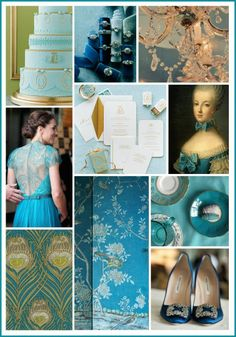 The Royal Treatment: Teal & Gold Color Inspiration - The Bride's Guide : Martha Stewart Weddings