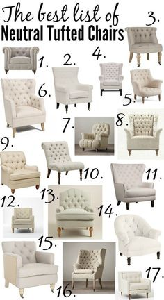 http://www.phomz.com/category/Accent-Chiar/ The ULTIMATE list of the best neutral tufted chairs from high to low price