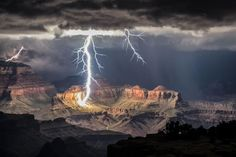 The Grand Canyon lit only by lightning.