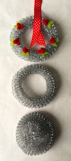 Make A Dollar Store Steel Pot Scrubby Miniature Wreath - Mrs. Polly Rogers | Decorate, Make, Create! | Mrs. Polly Rogers | Decorate, Make, Create!