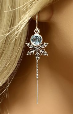 Frozen Snowflake Earrings Sterling Silver Crystal Earrings