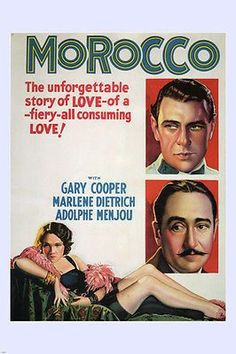 MOROCCO movie poster 1930 gary COOPER marlene DIETRICH FIERY love story 24X36