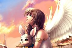 Anime, Wings, Dívka wallpapers