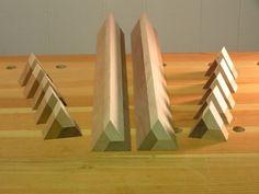 Glued up triangle sticks of the three woods.