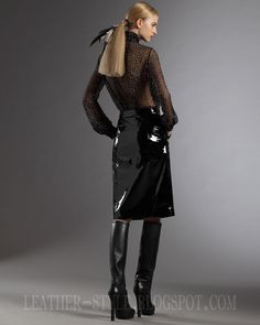 Gucci - high heeled boots + black patent leather skirt