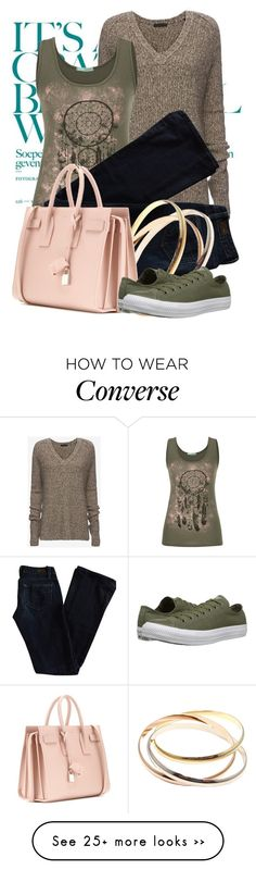 """""""Untitled #1968"""" by garbowvu on Polyvore featuring ATM by Anthony Thomas Melillo, maurices, Paige Denim, Yves Saint Laurent and Converse"""