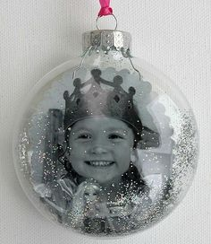 A couple of weeks ago I was asked to speak at a local MOPS meeting to offer ideas on holiday crafts parents can do with their preschoolers (and to go over the basics of starting a blog). This was one of my craft suggestions: What you need: Clear ornament (available at craft stores) Glitter Photograph Ribbon To make: Print a favorite photograph and cut it out using patterned edge scissors (I cut mine into a circle). Sprinkle some glitter inside the ornament, it will naturally stick a little…