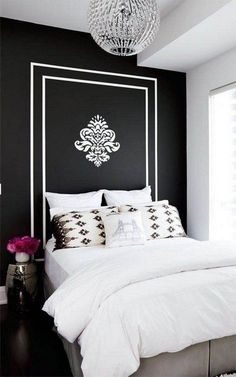 So many fabulous ideas!! Black and white bedroom is in vogue; contrasting colors create impact and drama in the area.