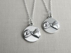 NEW  Set of 2 Pinky Promise Necklace Sterling by JewelleryJKW.  $80.60.
