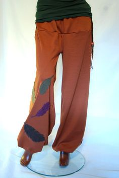 Brown elven pants, feather pixie baggy boho OOAK