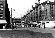 Springburn Road from the corner of Keppochhill Road and Flemington Street, 1956 Glasgow Scotland, Scotland Travel, Glasgow Architecture, The Good Old Days, Destruction, Birmingham, Street View, Black And White, Pictures