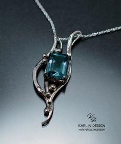 Kelp Forest silver and Fluorite art pendant by Kaelin Design