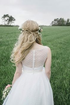 A Polka Dot Wedding Dress and Sweet Floral Crown
