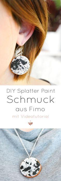 So schnell kannst Du individuellen Schmuck aus FIMO im Sprenkel-Look gestalten. faux ceramic, splatter paint, sprenkeln, Sprenkel-Look, Schmuck aus Fimo selber machen, Anleitung, Video Tutorial, Anfänger, Tutorial