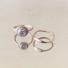 heirloom diamond + 14k rose gold bridal set by Jessica Seaton
