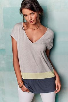 Colorblocked V-Neck Tunic - anthropologie.com