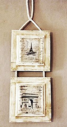 Frame handmade with recycled wood and ropes.