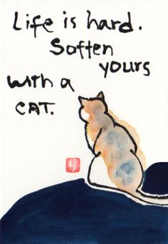Cat etegami print   Life is Hard... by HawaiiCats