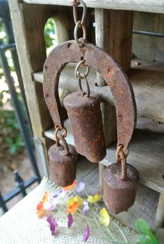 VIntage Rustic Hanging Horseshoe Bell, Equestrian Decor via Etsy