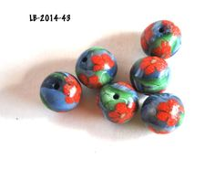 Handmade Polymer Clay Beads, Polymer Clay Beads for Sale, Jewelry Making Supplies, Bead Supplies, Red Flower Beads