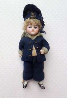Sweet Bisque Doll In Mariner Costume c1910 from theluckyblackcat on Ruby Lane