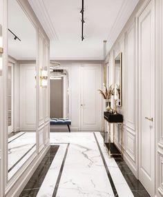 Luxury Home Decor, Luxury Homes, Neoclassical Interior Design, Modern Classic Interior, Halls, Corridor Design, Modern Townhouse, Decor Home Living Room, Art Deco Home
