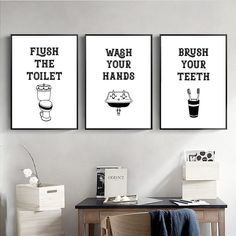 """""""Sign Print Quotes Poster Modern Minimalist Canvas Painting Picture Black and White Wall Art Funny Kids Bathroom Art Wall Decor"""" Quote Posters, Quote Prints, Wall Prints, Kids Bathroom Art, Hanging Frames, Black And White Wall Art, Sign Printing, Pictures To Paint, Home Decor Wall Art"""