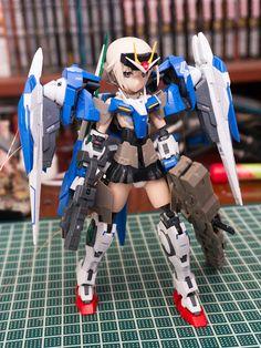 Gundam Family: MS Girl : RG 1/144 00 Raiser + Frame Arms Custom Build