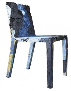 Textile resin furniture-this is so cool. It's a chair made by mixing resin with discarded clothing that is too damaged/worn to wear again.