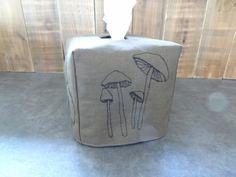 Boîte à mouchoirs en tissus, champignons en piqué libre