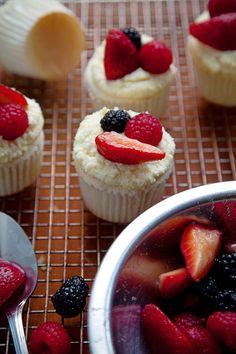 Angel Food Cupcakes with Lemon Mascarpone Frosting