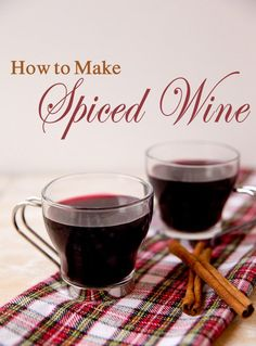 Spiced Wine --- 2 cups sugar, 2 tsp ground cinnamon, 2 tsp ground cloves, 1 tsp ground allspice, 1/4 tsp ground nutmeg, Dry red wine, Cinnamon sticks --- For single serving;  Mix 2 teaspoons of the wine mix with 1/2 cup water; heat in small saucepan to boiling.  Add 1 cup dry red wine; heat until hot but not boiling.