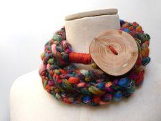 Sciarpe all'uncinetto - Sciarpa collana ad anello lana marrone multicolore - un prodotto unico di ixela su DaWanda