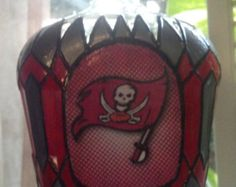 Tampa Bay Buccaneers Football Crown Royal Glass Hand Painted Decanter Bottle OOAK