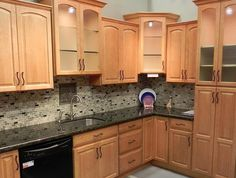 backsplash ideas for black granite countertops and maple cabinets - Kitchen Counter Backsplash Ideas Pictures