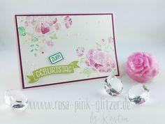 www.rosa-pink-glitzer.de: Karte mit Stempelset Geburtstagsblumen von Stampin up